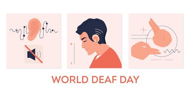 Młody głuchy mężczyzna z aparatem słuchowym. pojęcie niepełnosprawności słuchu. znak