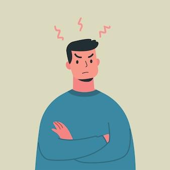 Młody gniewny mężczyzna, szalony wyrażenie, wektorowa ilustracja.