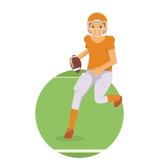 Młody gracz działa w futbol amerykański