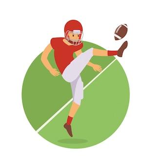Młody gracz kopie piłkę w futbol amerykański