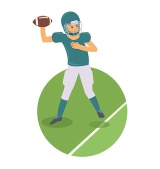Młody gracz rzuca piłkę w futbol amerykański grze