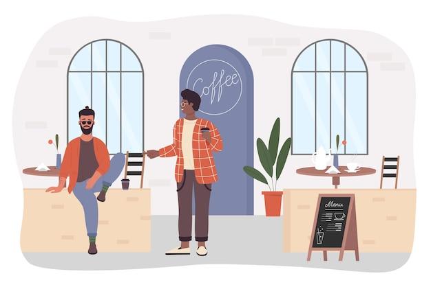 Młody hipster mężczyzna rozmawia z przyjacielem w kawiarni w stylu kreskówki