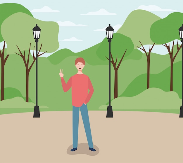 Młody i przypadkowy mężczyzna o charakterze parkowym
