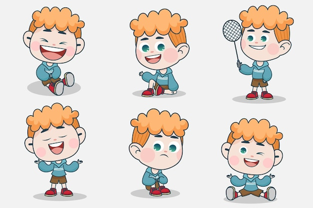 Młody inteligentny chłopiec charakter z innym wyrazem twarzy i pozami rąk.