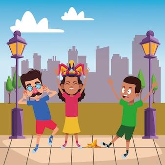 Młody karton avatar charakter dzieci