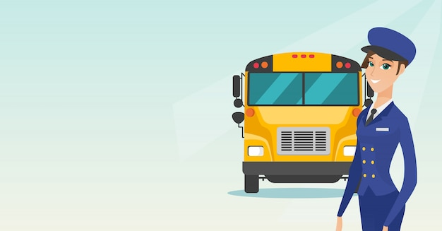 Młody kaukaski kierowca autobusu szkolnego.