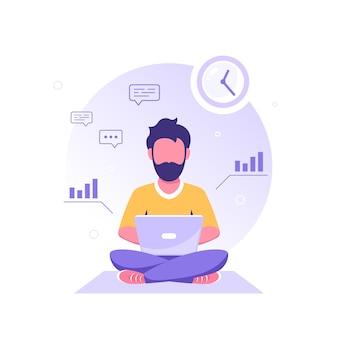 Młody kaukaski mężczyzna siedzi na podłodze i pracuje na laptopie. freelance, praca zdalna, nauka online, praca z domu. ilustracja wektorowa płaski.