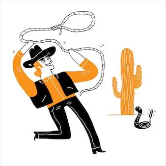 Młody kowboj używa lassa w dziczy. ręcznie rysowane ilustracji wektorowych