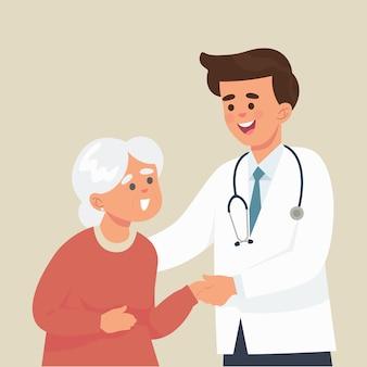 Młody lekarz opiekuje się starszą panią