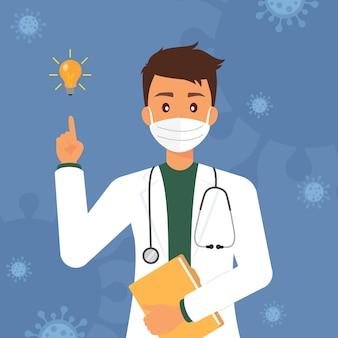 Młody lekarz wirusolog z ilustracją pomysłu