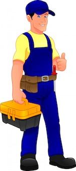 Młody mechanik trzyma pudełko narzędzi i kciuk do góry