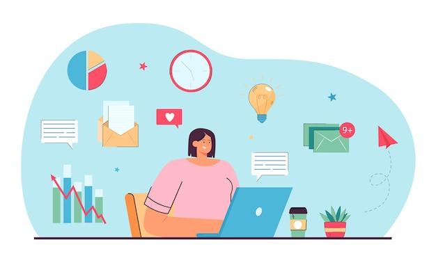 Młody menedżer pracujący online płaska ilustracja