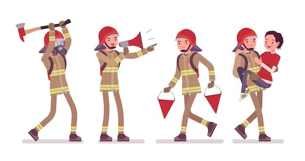 Młody męski strażak przy pracą