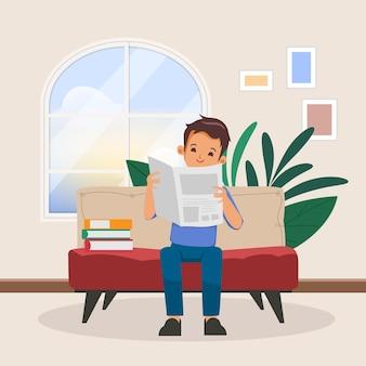 Młody mężczyzna czyta gazetę na kanapie zostań w domu