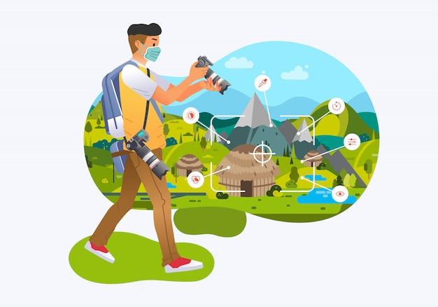 Młody mężczyzna fotograf sprawdzanie fotografii w aparacie cyfrowym, robienie zdjęć ilustracji etnicznej wsi. używane do plakatów, grafiki informacyjnej, obrazu strony internetowej i innych