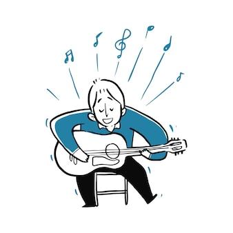 Młody mężczyzna gra na gitarze i śpiewa piosenkę.