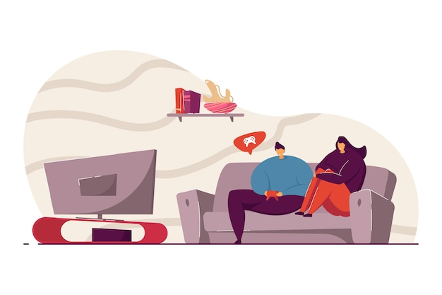 Młody mężczyzna i kobieta, grając w gry wideo ilustracji wektorowych. przyjaciele lub para spędzająca razem czas. rekreacja w pomieszczeniach. wspólna koncepcja spędzania czasu na stronie internetowej lub reklamie