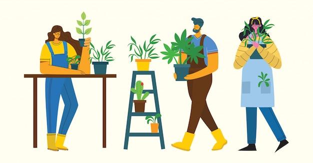 Młody mężczyzna i kobieta ogrodnik trzyma doniczkę. ilustracja w stylu płaskiej