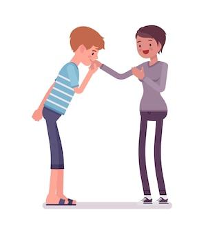 Młody mężczyzna i kobieta ręcznie pocałunek gest