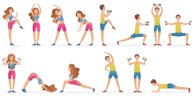 Młody mężczyzna i kobieta różnych pozach gimnastycznych i asana jogi zestaw na białym tle.