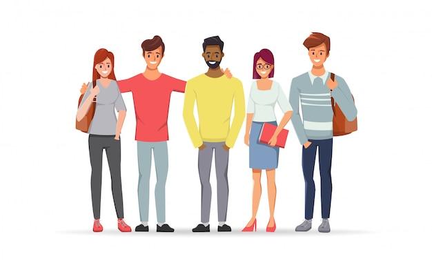 Młody mężczyzna i kobieta są przyjaźni studentami uczelni.
