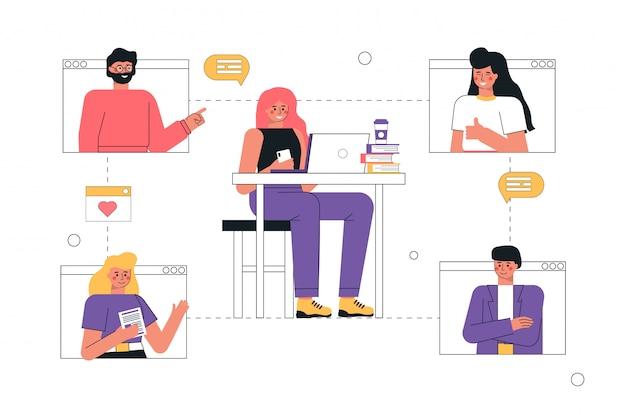 Młody mężczyzna i kobiety za pomocą połączeń wideo i wiadomości, rozmawiając aplikację internetową na laptopie lub smartfonie.