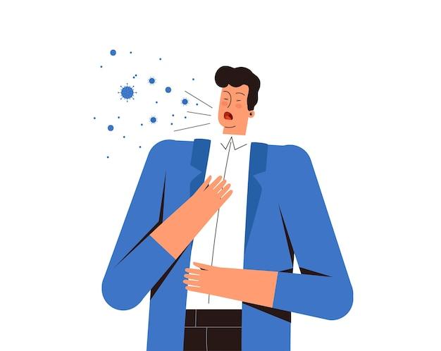 Młody mężczyzna kaszle i przenosi wirusa. niebezpieczeństwo rozprzestrzenienia się nowego koronawirusa covid-2019.