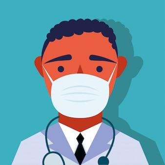 Młody mężczyzna lekarz ubrany w postać maski medyczne