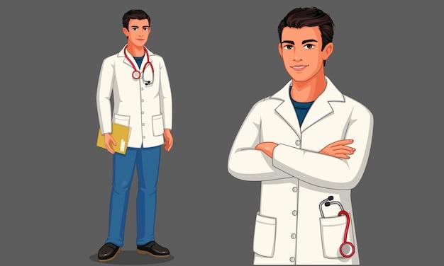 Młody mężczyzna lekarz ze stetoskopem i fartuchem w pozycji stojącej ilustracja 2