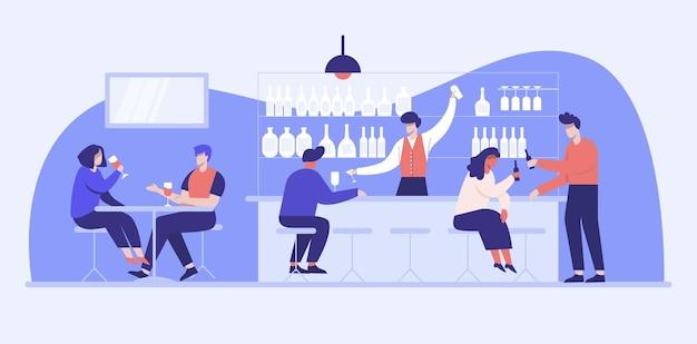 Młody mężczyzna otwiera bar liquor i sprzedaje napoje alkoholowe, takie jak piwo rzemieślnicze, piwo, wino, alkohole.