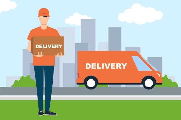 Młody mężczyzna przywiózł pudełko samochodem. dostawa do drzwi. ilustracja wektorowa