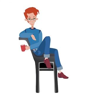Młody mężczyzna siedzi na krześle przy filiżance kawy. ilustracja na białym tle.