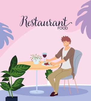 Młody mężczyzna siedzi w pięknej restauracji obiad przy lampce wina ilustracji projektowania