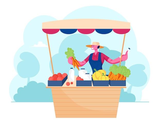 Młody mężczyzna sprzedawca stojący za biurkiem na świeżym powietrzu ze świeżymi warzywami i produktami mleczarskimi. płaskie ilustracja kreskówka
