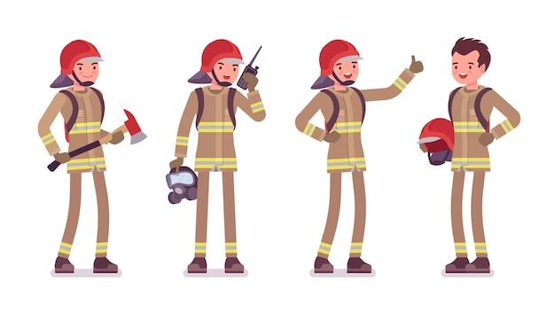 Młody mężczyzna strażak stojący