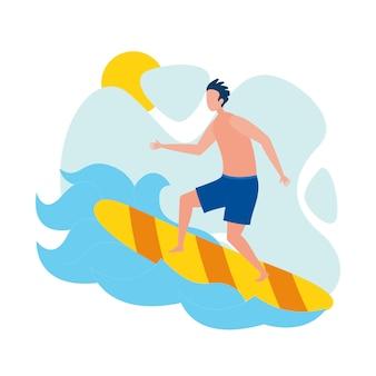 Młody mężczyzna surfer, postać sportowca