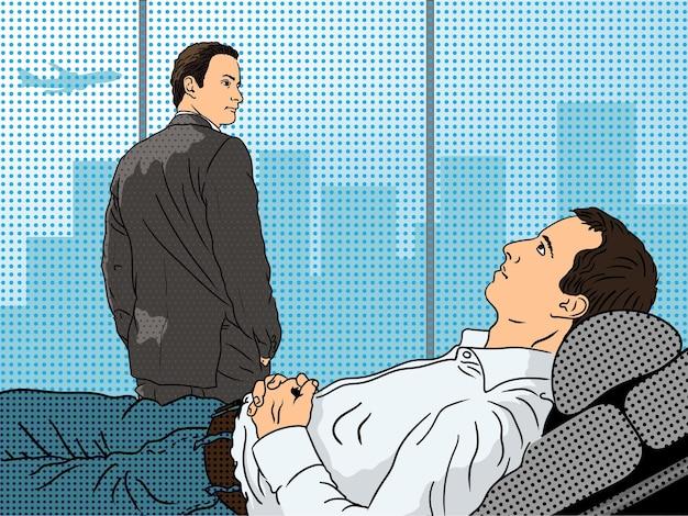 Młody mężczyzna w białej koszuli leży na fotelu podczas sesji z psychoanalitykiem
