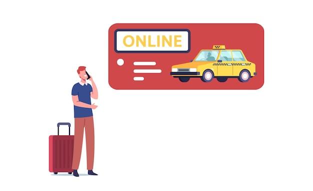 Młody mężczyzna zamawiający taksówkę za pomocą mobilnej aplikacji online na smartfonie
