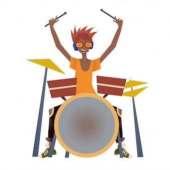 Młody murzyn gra zestaw perkusyjny. perkusista, muzyk. ilustracja na białym tle.