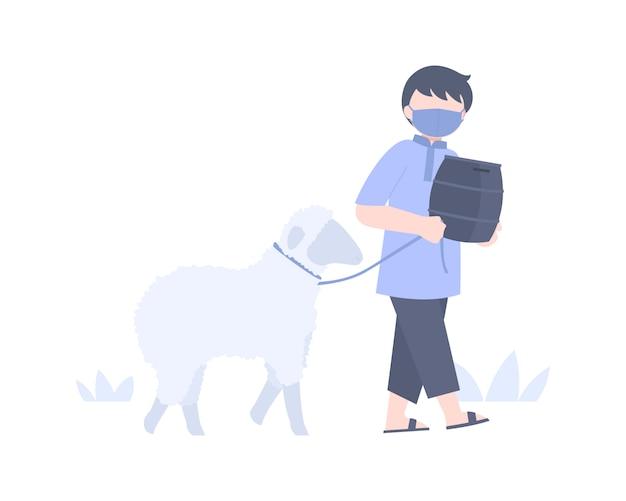 Młody muzułmanin chodzi z owcą i pudełkiem na jałmużnę, aby dać meczetowi