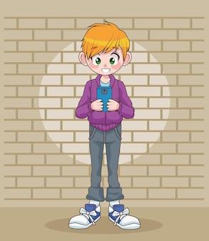 Młody nastolatek chłopiec dziecko za pomocą smartfona w ilustracji postaci ściany
