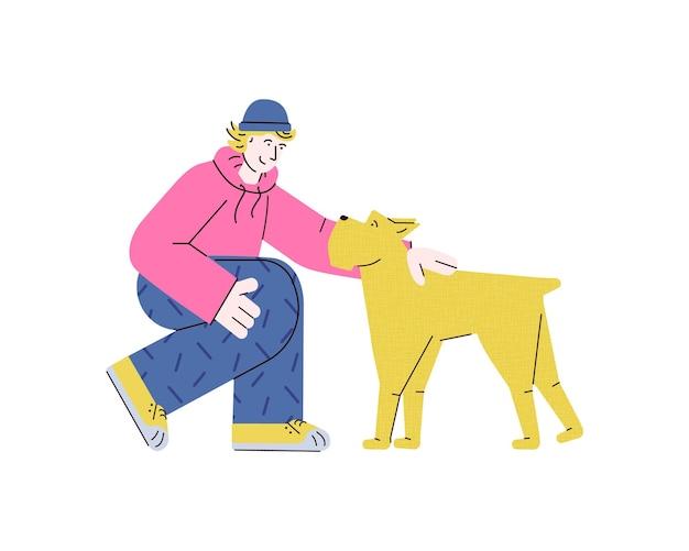 Młody nastoletni mężczyzna pieszczoty żółty pies ilustracja kreskówka płaski wektor