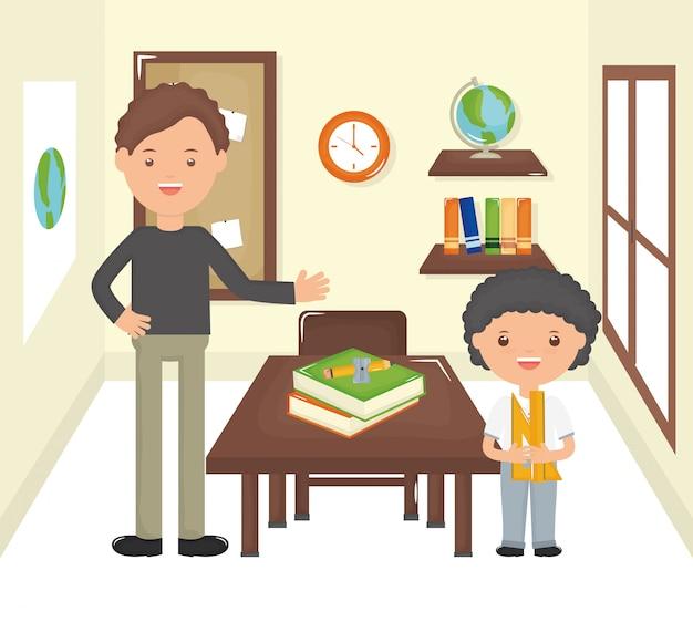 Młody nauczyciel mężczyzna z uczniem chłopca w klasie