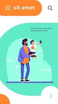 Młody ojciec trzyma dziecko z telefonem komórkowym. selfie, dziecko, ilustracja wektorowa płaski smartfon
