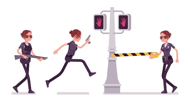 Młody patroluje miasto policjantki