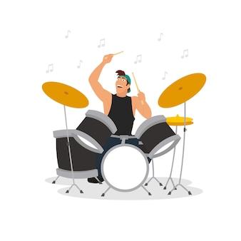 Młody perkusista grający na perkusji. ilustracja na białym tle.