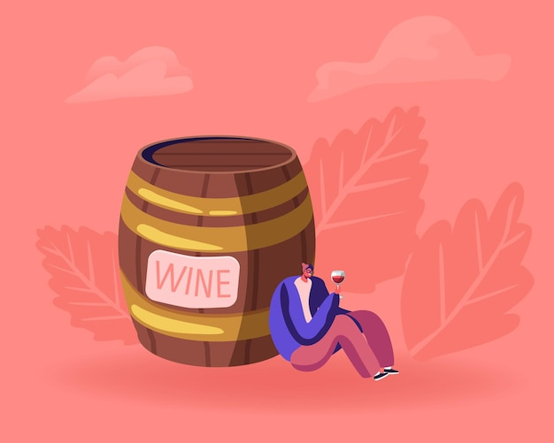 Młody pijany mężczyzna siedzi w pobliżu ogromnej drewnianej beczki z kieliszkiem do oglądania na czerwone wino wewnątrz i uśmiecha się. płaskie ilustracja kreskówka