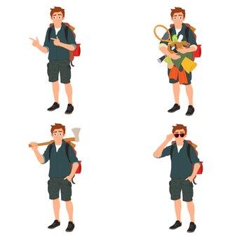 Młody podróżnik stoi z rzeczami do biwakowania w swoich rękach. wiele zakupów w najniższych cenach.