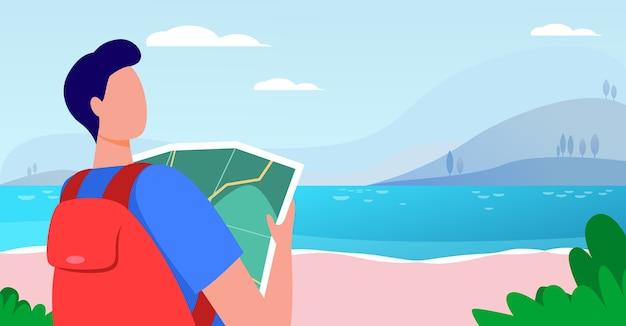 Młody podróżnik trzymając mapę i stojący w pobliżu jeziora. plecak, krajobraz, wycieczka płaska wektorowa ilustracja. wakacje i przyroda