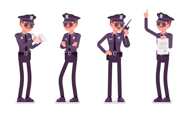 Młody policjant niezadowolony ze swojego sztandaru pracy